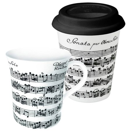 2-Pc Coffee to Stay and Go Vivaldi Libretto Mug Set in White