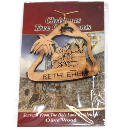 Olive Family Wood (Holy Family nativity scene Ornament gift carved by Laser - Olive wood ( 7 cm or 2.8 inch with certificate) )