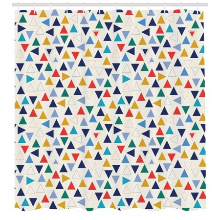 Contour Triangle - Geometric Shower Curtain, Colorful Simplistic Triangles Contour Forms Randomly Aligned Off White Background, Fabric Bathroom Set with Hooks, 69W X 70L Inches, Multicolor, by Ambesonne