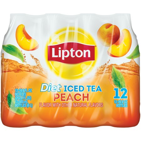 (2 Pack) Lipton Diet Peach Iced Tea, 16.9 Fl Oz, 12 Count