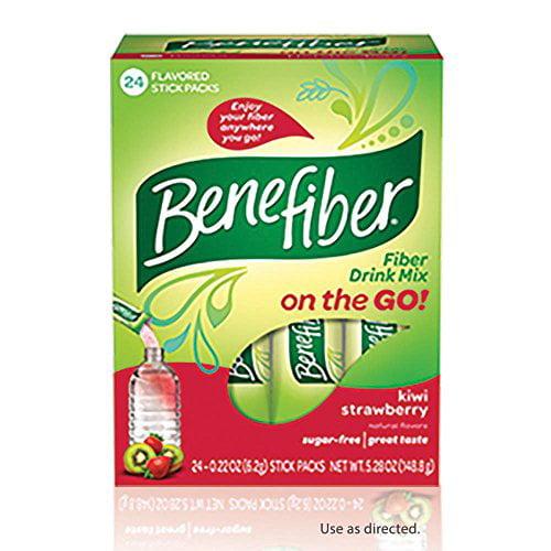 2 Pack BeneFiber Fiber Drink Mix on the Go! Kiwi Strawberry Stick Packs 24 Each