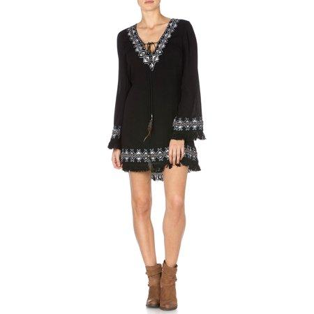 068d95fe7fd6 Miss Me Women s Embroidered Fringe Fantasy Dress - Mdd186l Black Image 1 ...