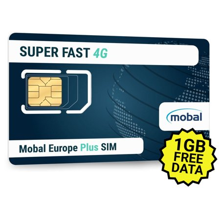 Europe Plus SIM by Mobal  1GB of Fast 4G Data Included