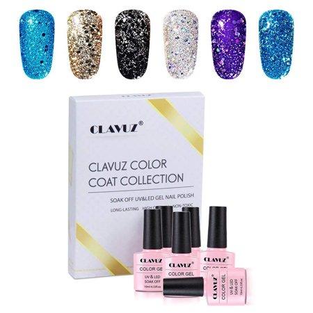 Clavuz 6pcs Glitter Gel Nail Polish Kit Soak Off Uv Led Nail Lacquer