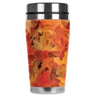 """Mugzie brand 20-Ounce """"MAX"""" Stainless Steel Travel Mug with Insulated Wetsuit Cover - Fall Leaves"""
