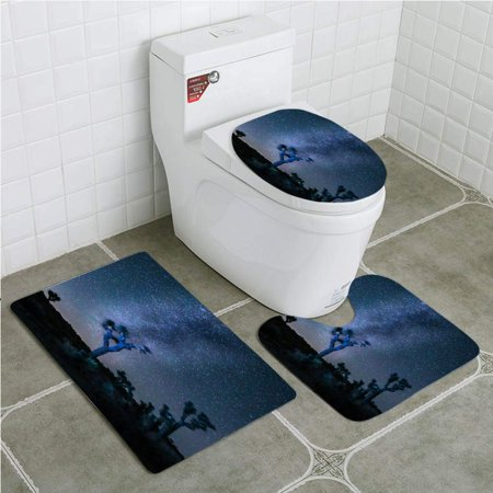 EREHome Joshua Tree Milky Way 3 Piece Bathroom Rugs Set Bath Rug Contour Mat and Toilet Lid Cover - image 2 of 2
