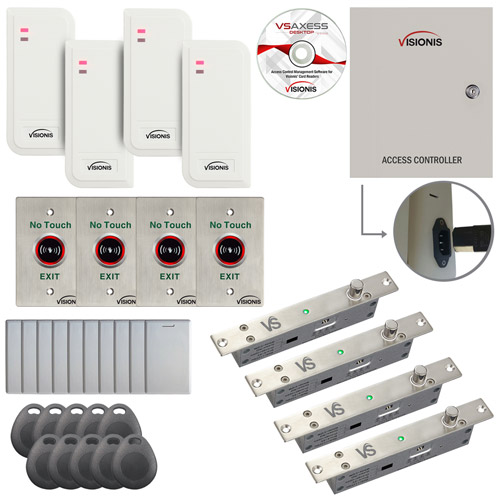 FPC-6562 4 Door Access Control TCP/IP RS485 Wiegand Electric Drop Bolt Fail Secure Controller Box With Power Supply, White Waterproof Card Reader, Software, EM TK4100 Card Compatible 10,000 Users Kit