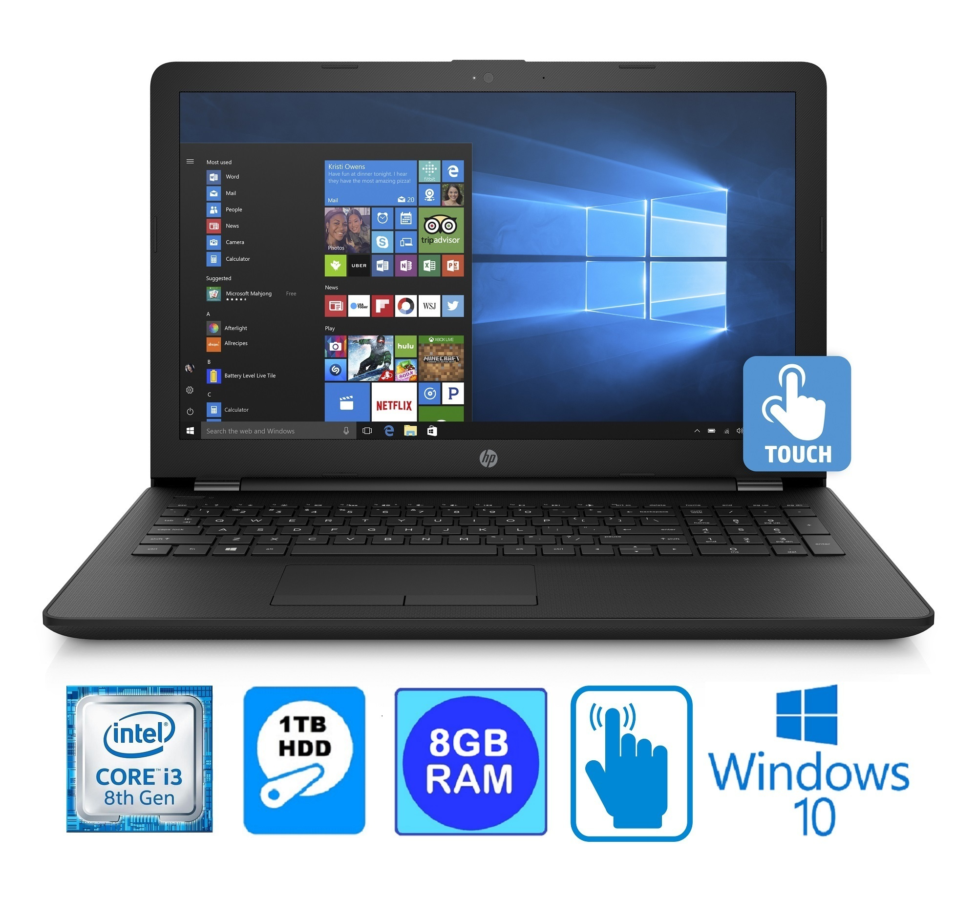 "HP 15BS Intel Core i3-8130U 8GB 1TB HDD 15.6"" HD WLED Touch Screen Laptop (Refurbished)"
