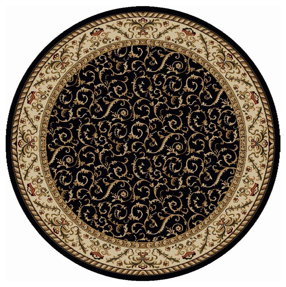 Como Round Transitional Area Rug (Black)