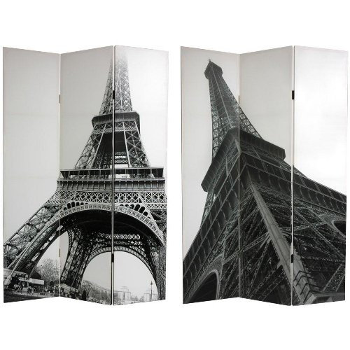 Oriental Furniture 70.88'' x 47.25'' Eiffel Tower 3 Panel Room Divider