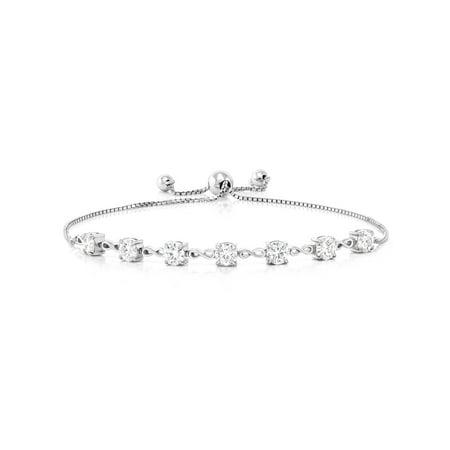 Moissanite Round Bracelet (2.03 Ct Round White Created Moissanite 925 Sterling Silver Adjustable)