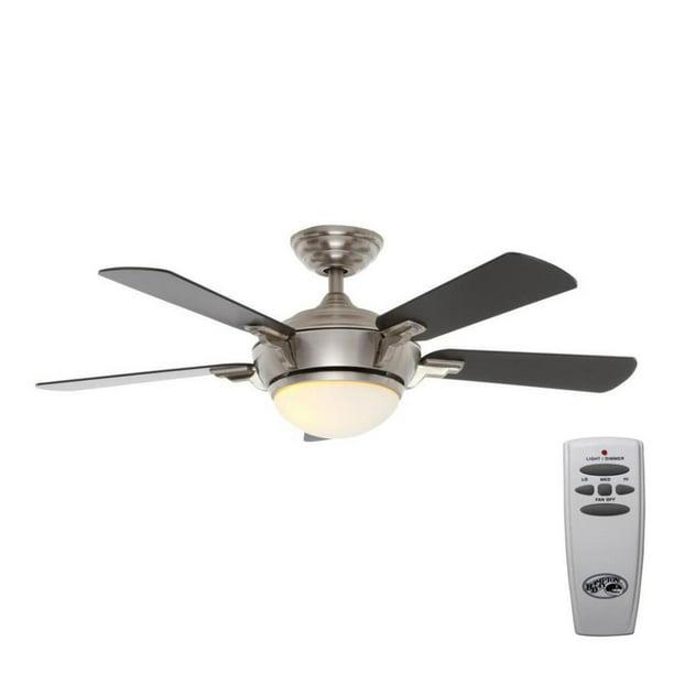 Hampton Bay Midili 44 In Led Indoor Brushed Nickel Ceiling Fan 91044 New Walmart Com Walmart Com
