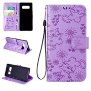 Galaxy Note 8 Case, Allytech Embossed Butterfly Cat Slim Folio Bumper Kickstand Magnetic Drop Proof Magnetic Clasp Anti-Scratch Cards Slots Wallet Case Cover for Samsung Galaxy Note 8, Purple