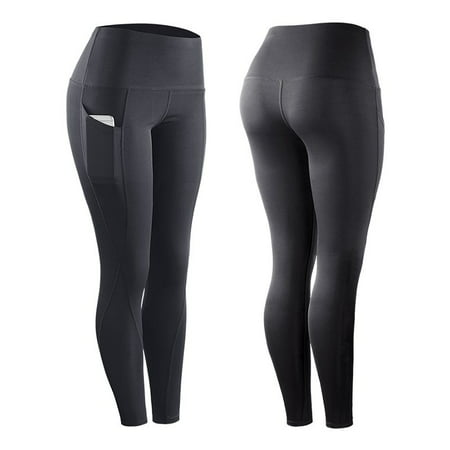High Elastic Leggings Pant Women Solid Stretch Compression Sportswear Casual Yoga Jogging Leggings Pants With Pocket Gray L