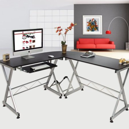 Board Precision Workstation - Zimtown Modern L-Shaped Desk, Corner Computer Desk PC Latop Study Table Workstation Home Office Wood & Metal, Black