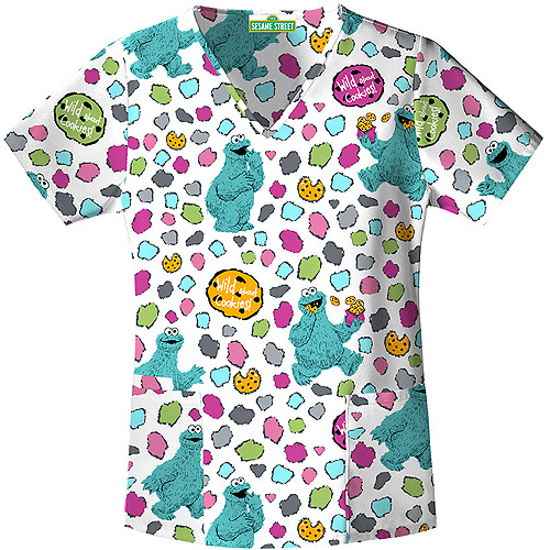 Sesame Street Wile About Cookie V-Neck Scrub Top
