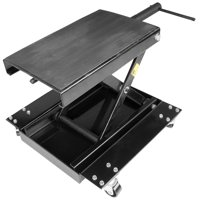Stark Motorcycle Scissor Jack Lift Wide Stand 1100lbs Hand Crank w/ Dolly Bike Rack and Wheels, Black