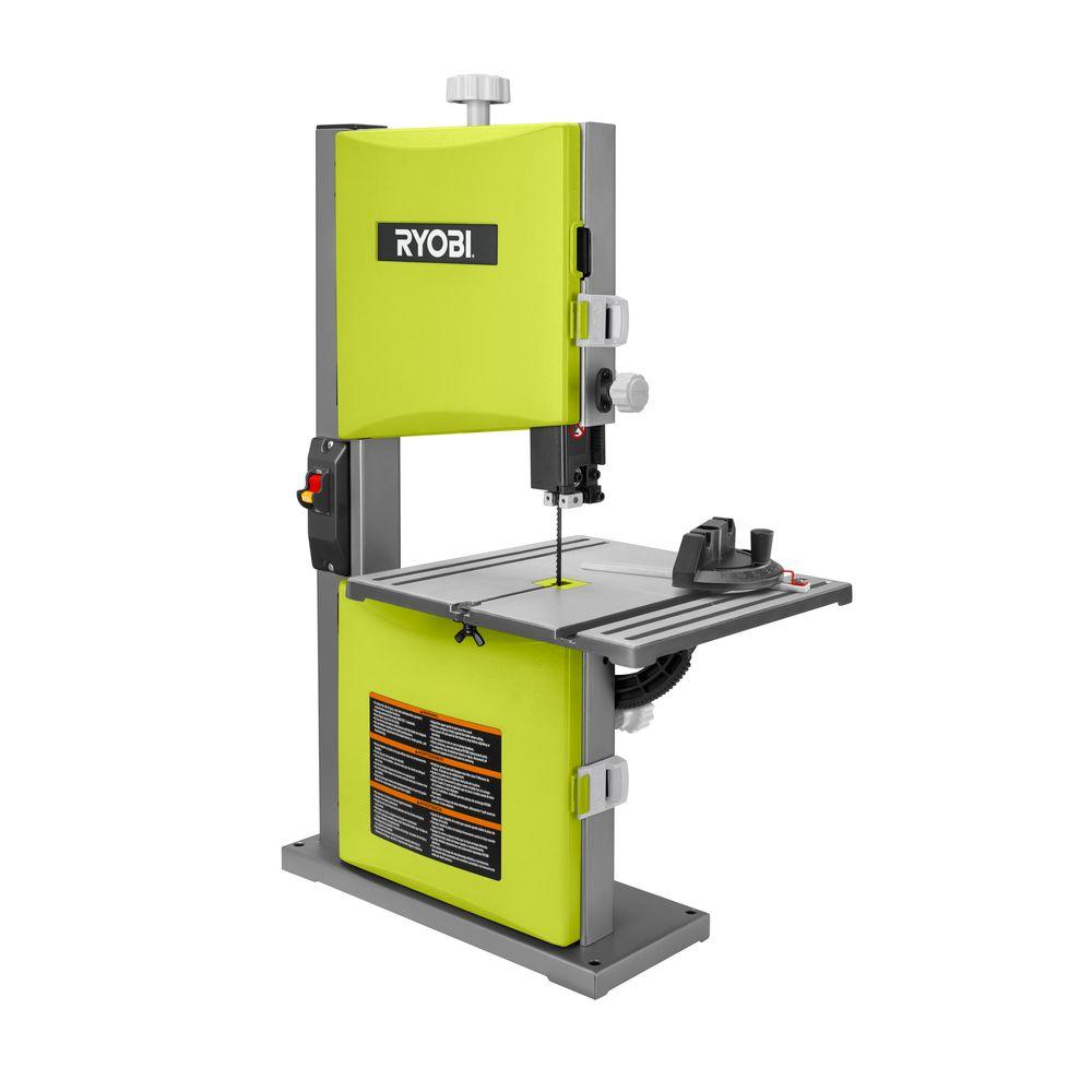 Ryobi 2.5 Amp 9 in. Band Saw in Green Woodworking Bench Cutting Power Tool by