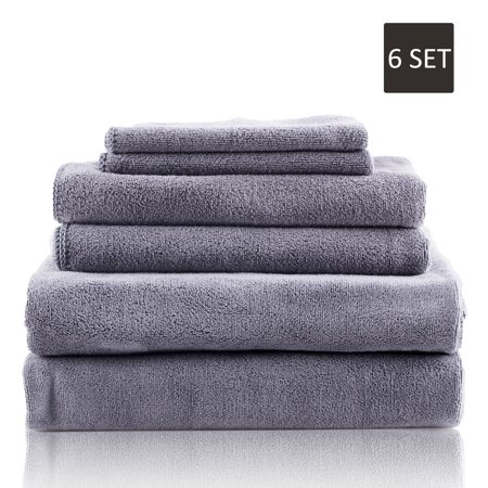Microfiber Towel Set - 6 Piece Soft and Oversized, Ultra Absorbent and Fast Drying, No Fading No Shedding Multi Use Towels -
