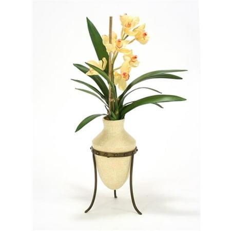 Distinctive Designs International 2377 Champagne Cymbidium Orchids in Etruscan Vase & Metal Stand