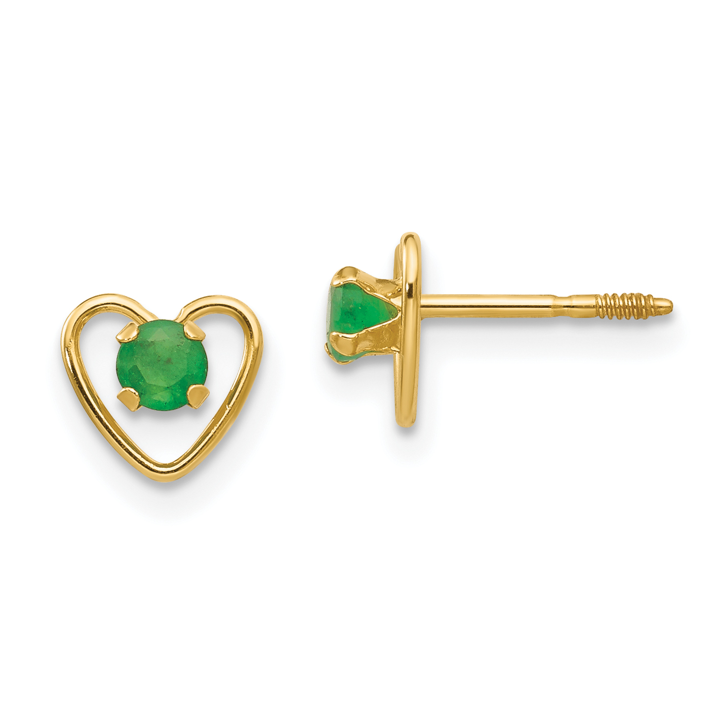 14k Yellow Gold 3mm Green Emerald Birthstone Heart Earrings May Love Fine Jewelry Gifts For Women For Her - image 3 of 3