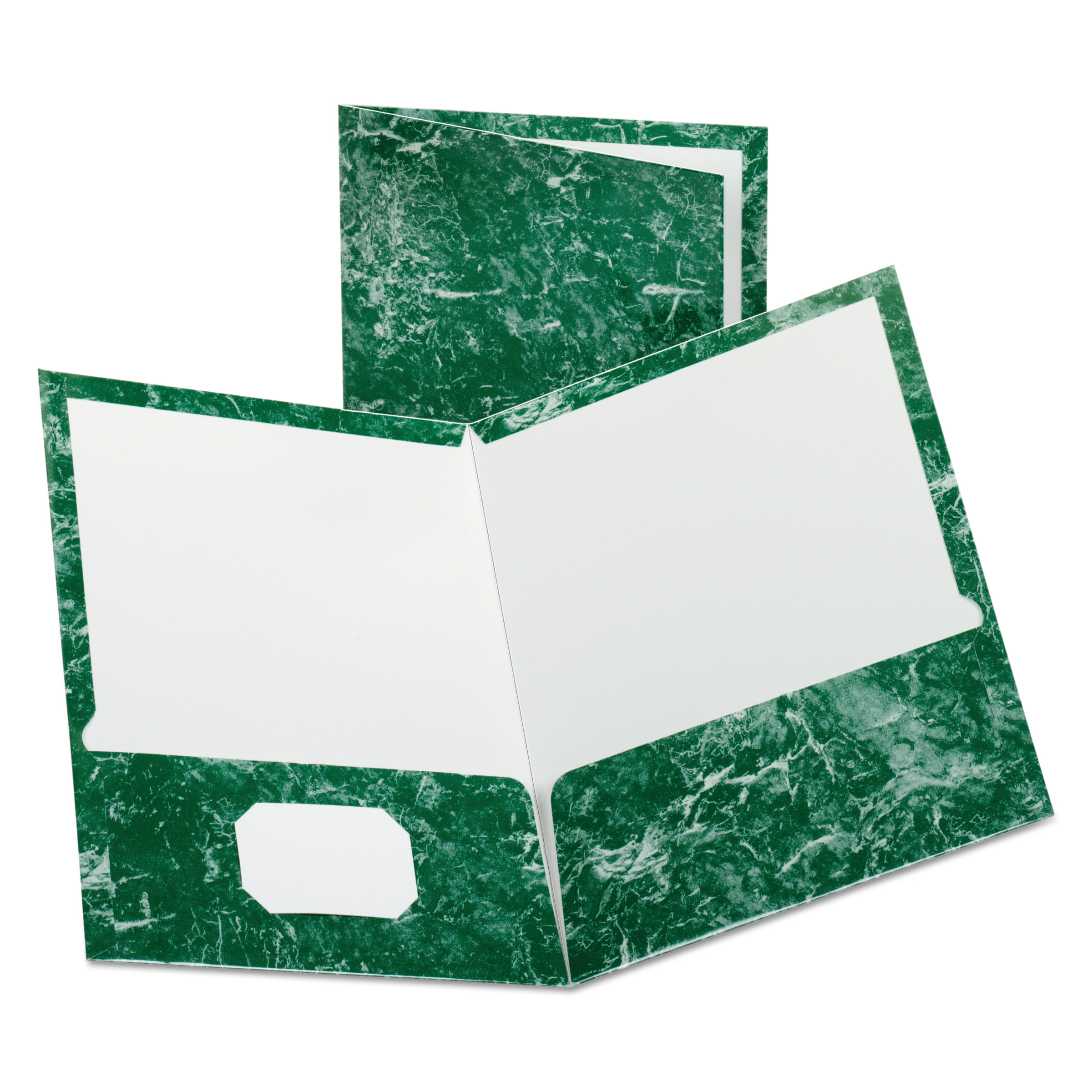 Oxford Marble Design Laminated High Gloss Twin Pocket Folder, Emerald Green, 25/box -OXF51617
