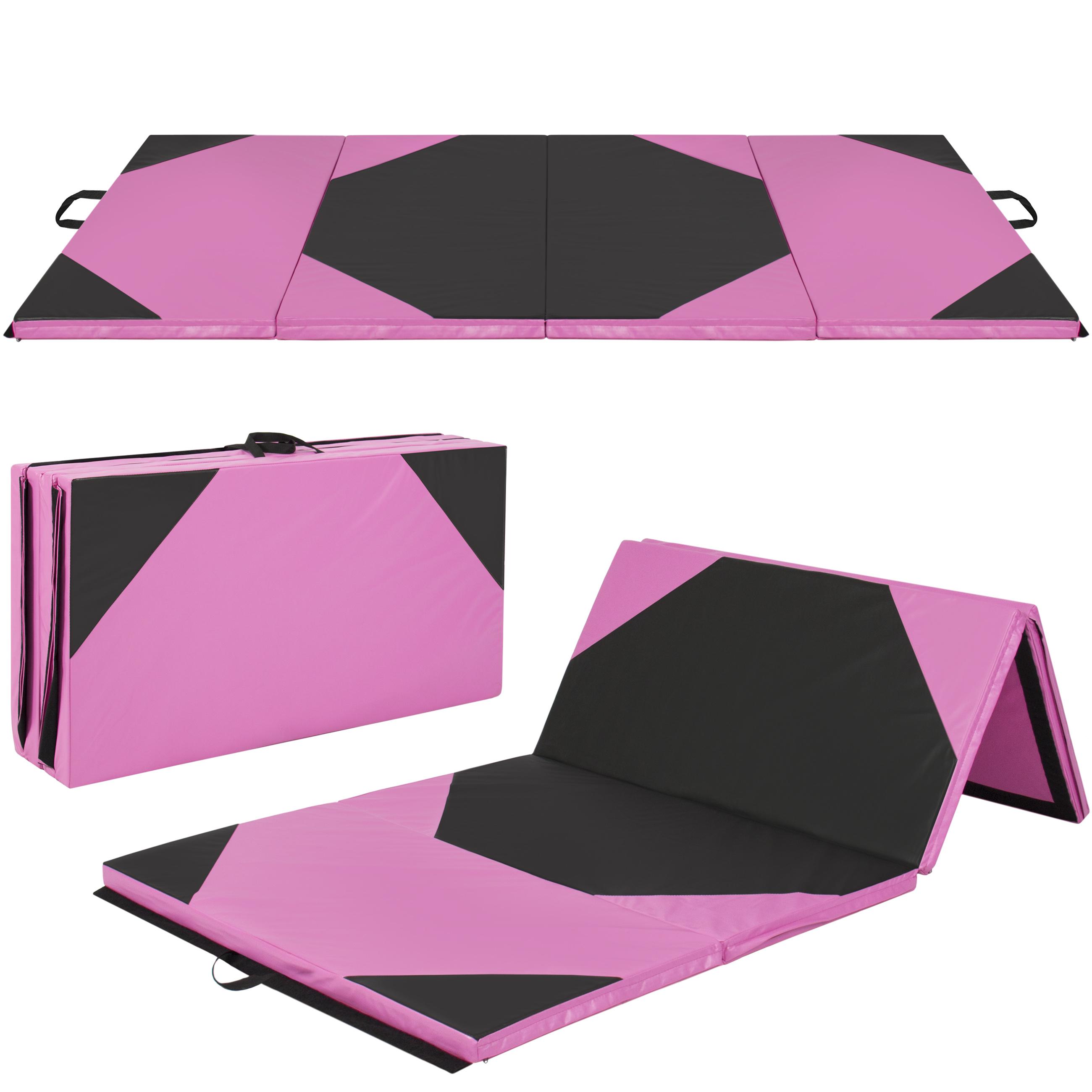 "4'x10'x2"" Gymnastics Gym Folding Exercise Aerobics Mats Pink Stretching Yoga Mat"
