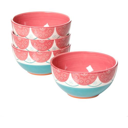 """Simplemente Delicioso Evita 6"""" Bowls, Magenta, Set of 4"""