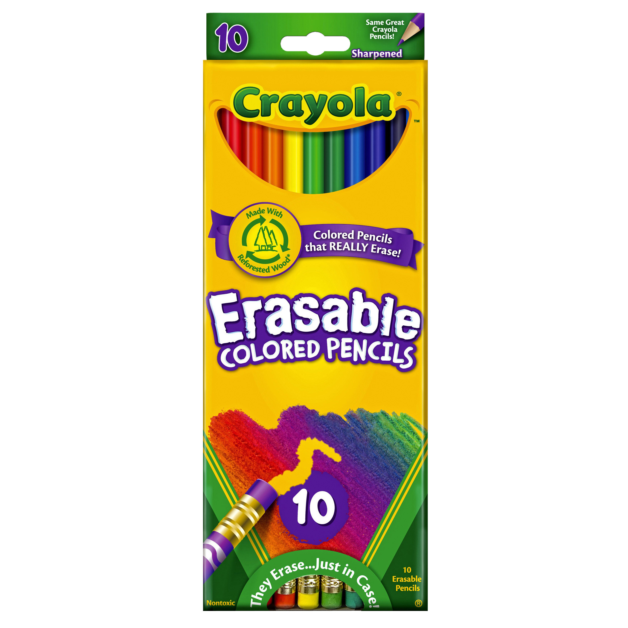Crayola Erasable Colored Pencils, 10 Count, 6 Boxes