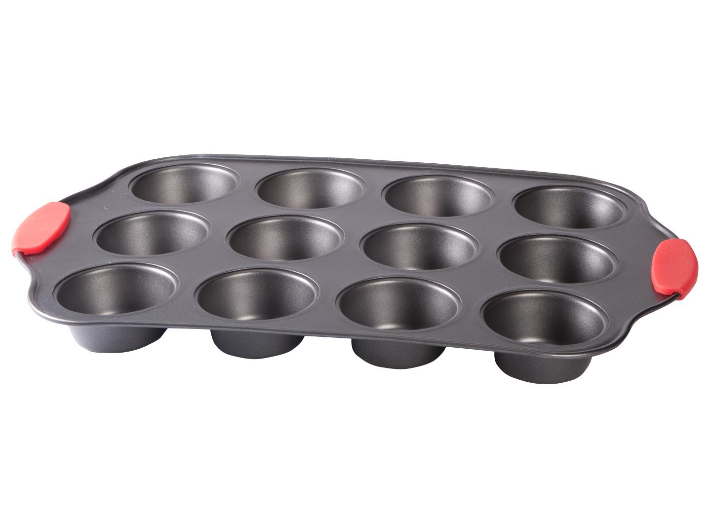 12 Cup Muffin Pan with Red Silicone Handles by HSK by Fox Valley Traders