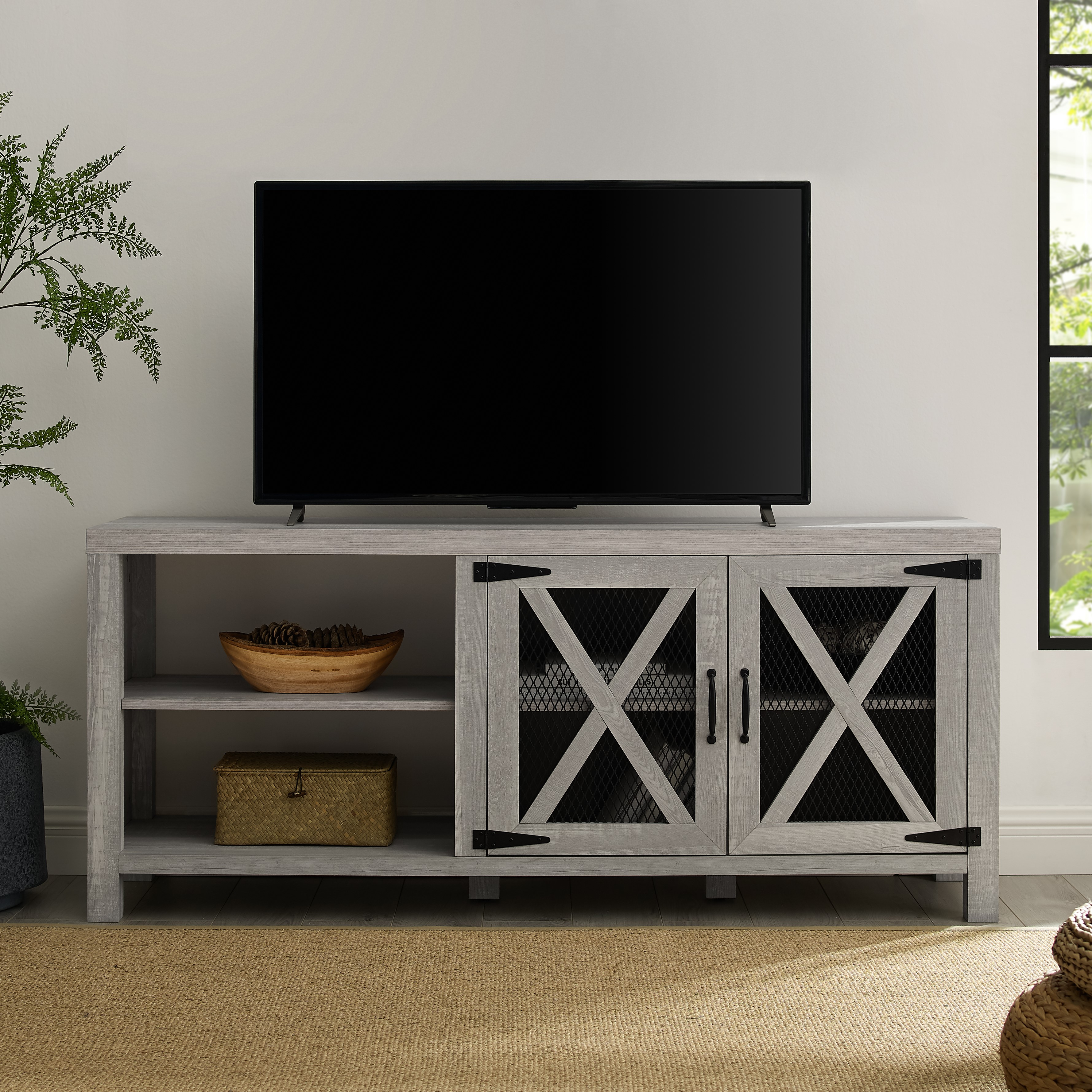 "Manor Park 58"" Industrial Farmhouse TV Stand - Stone Grey"