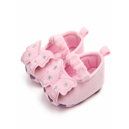 BOBORA Cute Baby Girl Spring Non-slip Butterfly Shape First Walkers Shoes