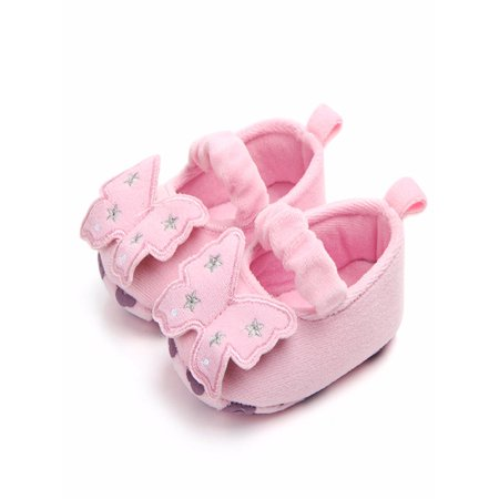 BOBORA Cute Baby Girl Spring Non-slip Butterfly Shape First Walkers Shoes - Toddler Slip