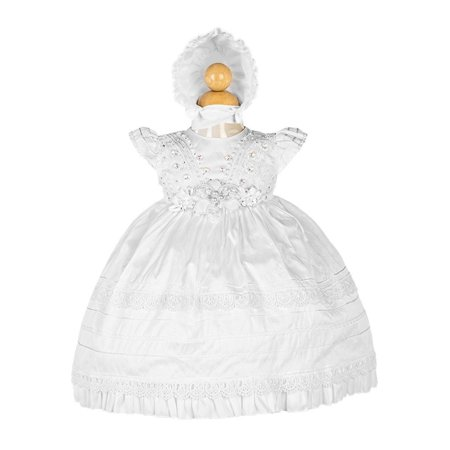 Pintuck Gown (Alegria Kids Girls White Pintuck Detail Bonnet Stylish Baptism Dress )