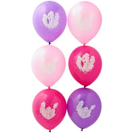 Disney Princess Party Balloons, 12 in, 6ct - Disney Princess Party Decor