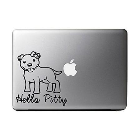 "Hello Pitty Pitbull Dog Breed - Black Vinyl Decal for 13"" Macbook"