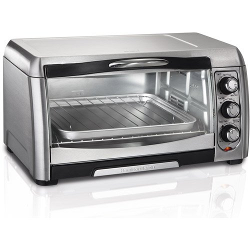 Hamilton Beach Stainless Steel Convection 6 Slice Toaster Oven Broiler on