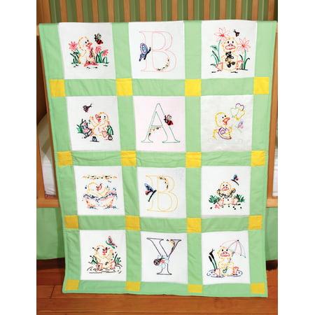 - Fairway Needlecraft Duck Baby Stamped Baby Quilt Blocks, 9