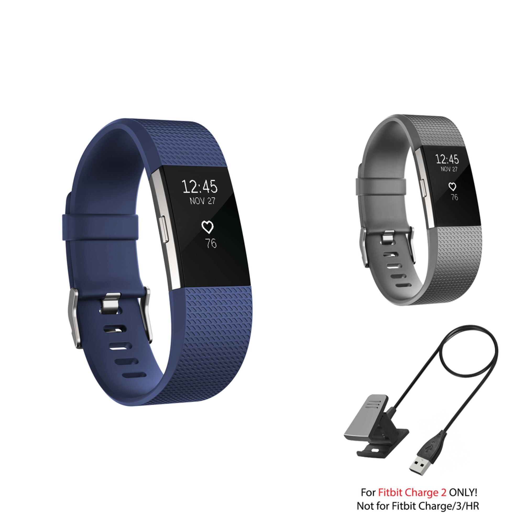 Fitbit Charge 2 Bands and Fitbit Charge 2 Charger by Zodaca 2 pcs (Gray & Dark Blue) Replacement Bands Rubber Wristband Fashion Sport Strap with Metal Buckle and USB Charging Cable for Fitbit Charge 2
