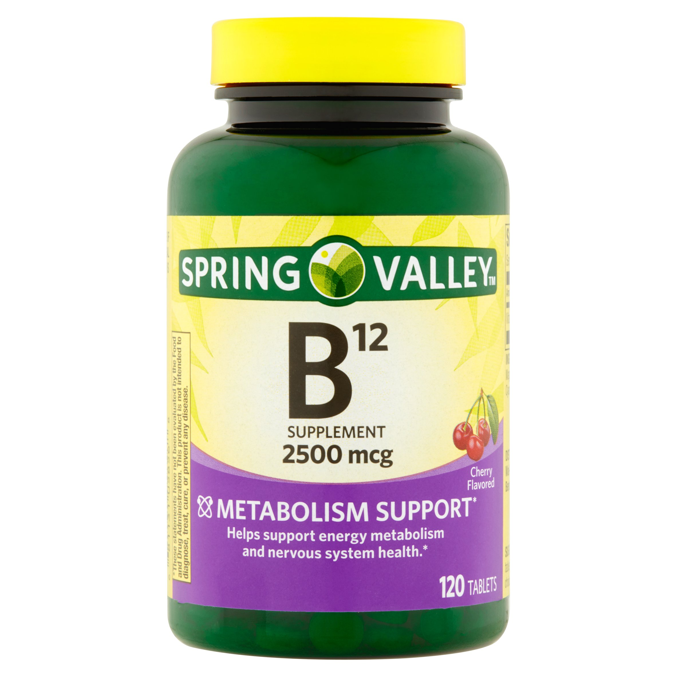Spring Valley Sublingual B12 Vitamin Supplement Microlozenges, 2500mcg, 120 count