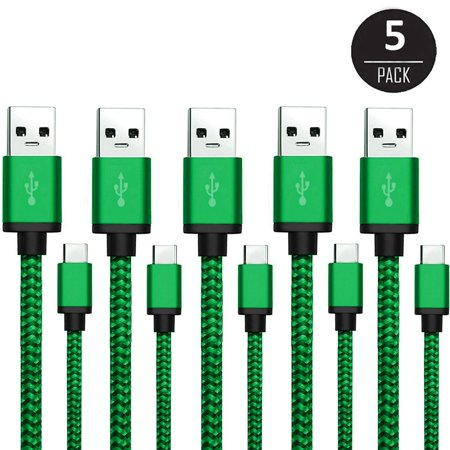 USB Type C Cable (5-Pack 10ft), EEEKit USB C Nylon Braided Charging Cord for Samsung Galaxy S8/S8 Plus/Active, LG G6, OnePlus 3/3T/5