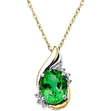 Sterling Silver with 10kt Yellow Gold Oval Created Emerald and Diamond Accent Pendant Necklace