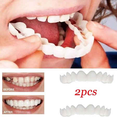 2Pcs/Set Comfort Fit Flex White Fake Teeth Cover Top Veneer Denture Dental  Kit