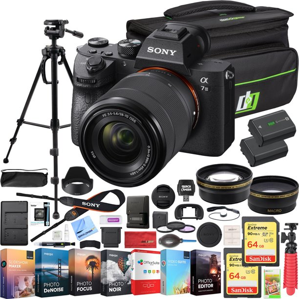 Sony a7III Full Frame Mirrorless Camera with FE 28-70mm F3.5-5.6 OSS Lens Kit ILCE-7M3K/B Bundle with Telephoto and Wide-Angle Lens Set, 2x 64GB Memory Cards, Deco Gear Bag and Accessories (26 Items)