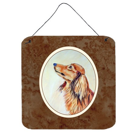 Long Haired Red Dachshund Wall or Door Hanging Prints 7240DS66 ()