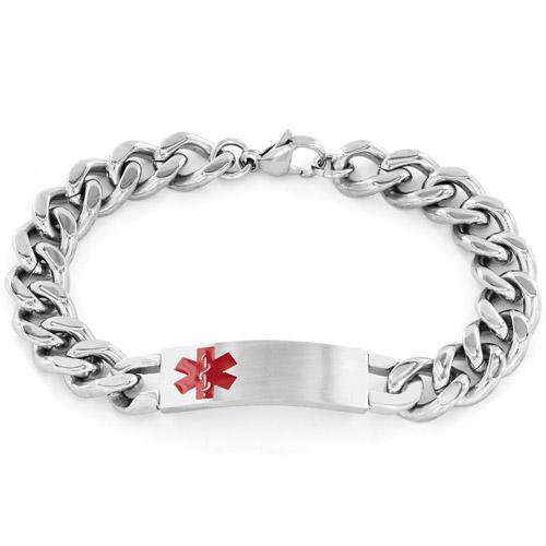 Men's Stainless Steel Curb Link Medical Alert ID Bracelet
