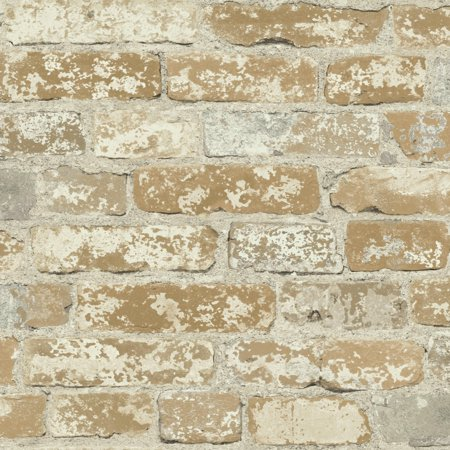 RoomMates Stuccoed Brown Brick Peel and Stick Wallpaper
