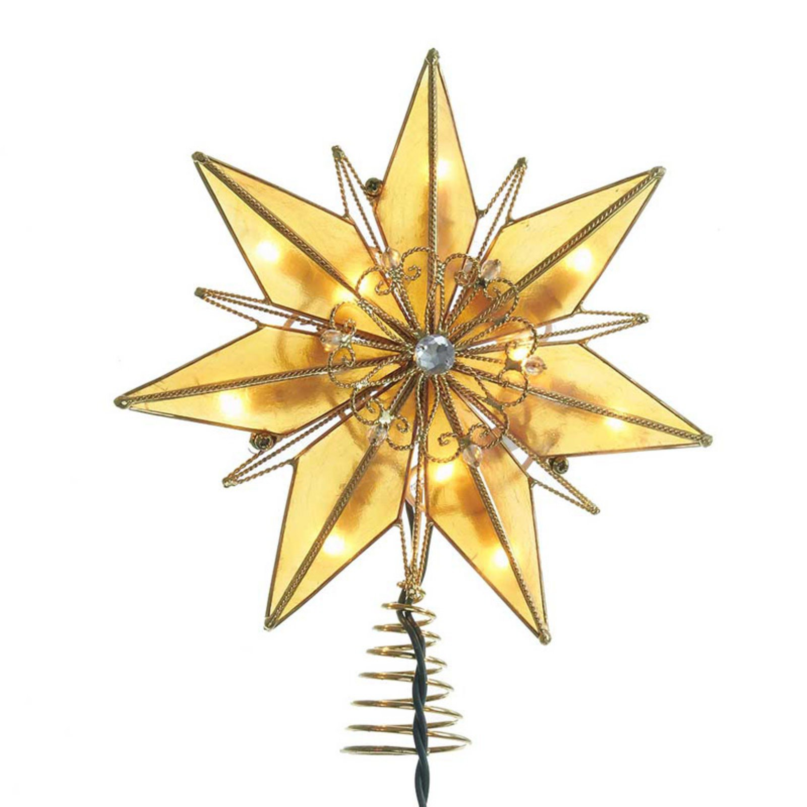 Kurt S. Adler 10-Light 6-Point Gold Capiz Star Treetop with Center Gem