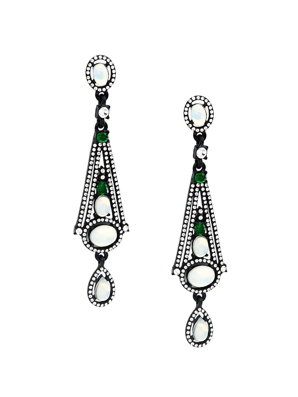 Geometric Pavé Drop Earrings