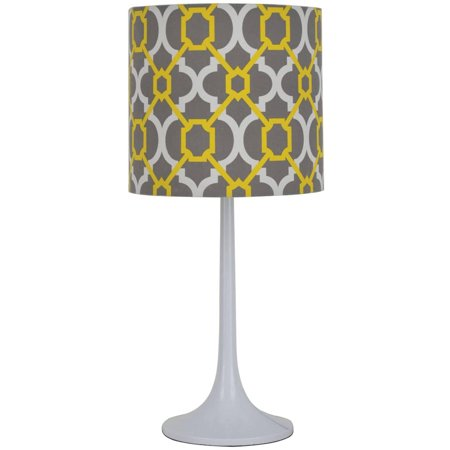 Mainstays grey yellow lamp best table lamps for Chevron shelf floor lamp